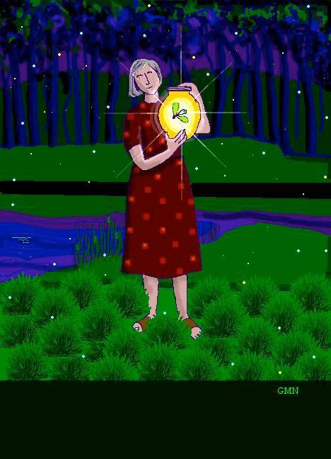 woman + fireflies