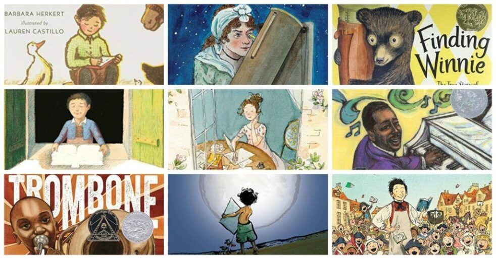 grid of picture book biographies